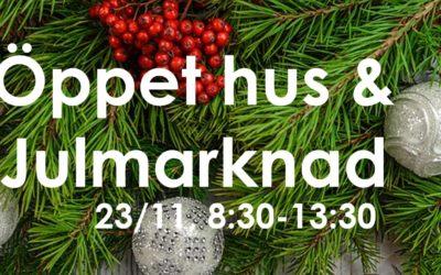 Öppet hus och julmarknad 23 november